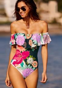 Costumi da bagno girocollo floreale con scollo A barca multicolore