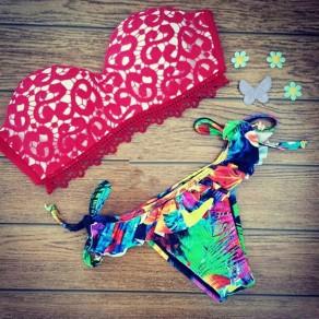 Rote Blumendruck Spitze zwei Stück weg von der Schulter Rückenfrei Mode Swimwear