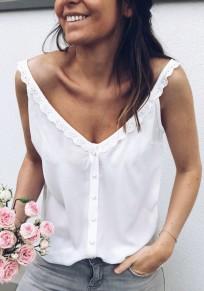 White Patchwork Lace Buttons Shoulder-Strap Multi Way V-neck Casual Vest