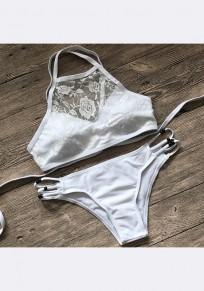 Weiße Flickwerk Spitze ausgeschnitten Krawatte zurück zwei Stück Mode Bademode