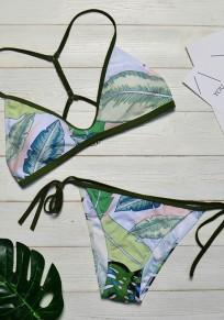 Grün Blumen 2-in-1 Drucken besetzt V-Ausschnitt Mode Bademode