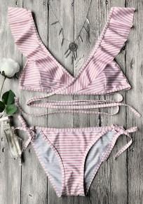 Pink Striped Print Ruffle Lace-up Two Piece Sweet Swimwear