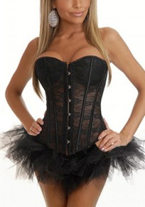 Black Lace Single Breasted Off Shoulder Backless Clubwear Party Vest