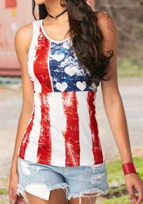 White Heart American Flag Print Independence Day Casual Vest