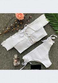 Weiß Off Shoulder Holz Ohr Plissee Schnürung Strand Two Piece 2 in 1 Bikini Sets Mode Zweiteilig Bademode Damen