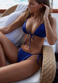Dark Blue Bow Condole Belt 2-in-1 V-neck Fashion Swimwear