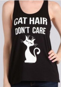 "Black Cat ""CAT HAIR DON'T CARE"" Print Cute Casual Vest"