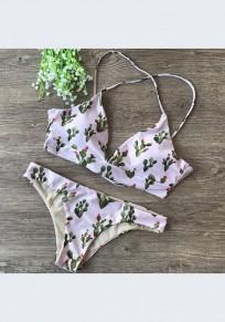 Maillot de bain fleuri cravate 2-en-1 imprimé v-cou blanc