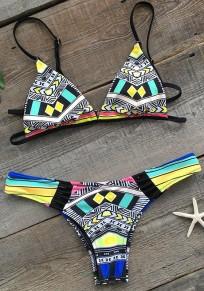 Gelber geometrischer Druck Condole Gürtel ausgeschnitten zwei Stück V-Ausschnitt Mode Bademode