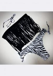 Schwarze gestreifte Druck Quaste weg von der Schulter zweiteilige Art- und Weisebadebekleidung