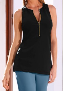 Black Zipper Round Neck Fashion Vest
