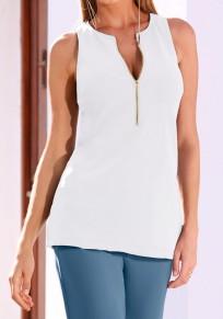 White Zipper Round Neck Fashion Vest
