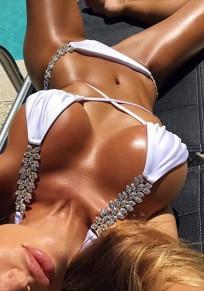 Weiße Strass Schleife Neckholder Zweiteilige Bikini Set Push Up Strand Bademode Damen Mode
