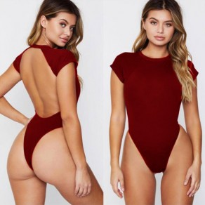 Wine Red Cut Out Round Neck Sports Swimwear