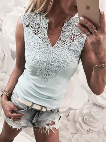 Light Blue Patchwork Cut Out Lace-up Casual Vest