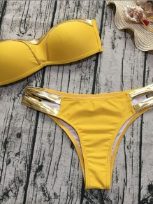 Yellow Patchwork 2-in-1 Crop Cut Out V-neck Fashion Swimwear