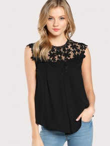 Black Patchwork Lace Round Neck Fashion Vest