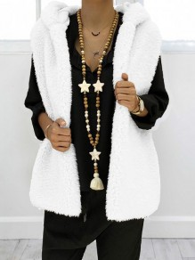 White Pockets Faux Fur Hooded Oversize Casual Vest