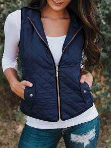 Dark Blue Zipper V-neck Casual Sweet Going out Vest