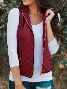 Wine Red Zipper V-neck Casual Sweet Going out Vest