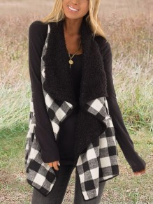 Black-White Plaid Irregular Turndown Collar Teddy Popcorn Casual Cardigan Vest