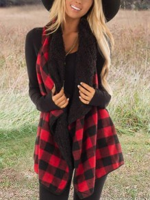 Red-Black Plaid Buffalo Irregular Turndown Collar Teddy Popcorn Casual Cardigan Vest