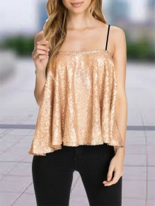Golden Patchwork Sequin Condole Belt Collarless Fashion Vest