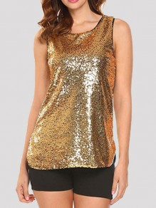 Goldene Pailletten Glitzer Rundhals Ärmellos Party Tank Top Weste Oberteile Damen Mode