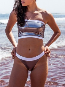 Silver Patchwork Sequin 2-in-1 High Waisted Sports Tankini