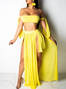 Yellow Solid Irregular Belt Off Shoulder Cover Up Summer Beach Tankinis Swimwear