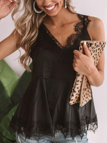 Black Patchwork Lace Condole Belt Cut Out Backless Pleated V-neck Sleeveless Fashion Vest