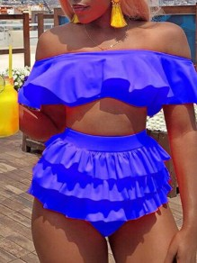 Blue Ruffle Two Piece Off Shoulder Beachwear Fashion Swimwear