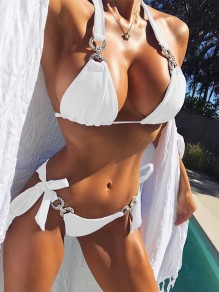 White Patchwork Rhinestone Halter Neck Lace-up Two Piece Fashion Bikini