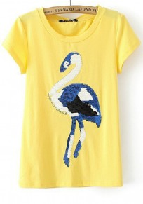 Yellow Swan Sequin Short Sleeve Wrap T-Shirt
