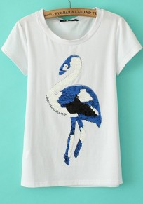 White Swan Sequin Short Sleeve Wrap T-Shirt