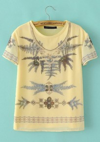 Yellow Leaves Print Short Sleeve Wrap T-Shirt