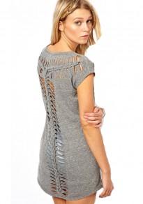 Grey Patchwork Hollow-out Round Neck Polyester T-Shirt