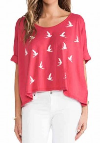 Red Swallow Print Loose T-Shirt