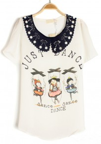 White Letter Print Hollow-out Cherry Lapel Chiffon T-Shirt