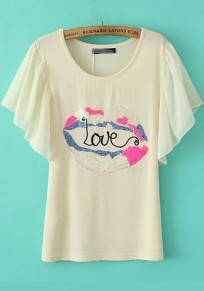 Beige Lip Print Sequin Lotus Sleeve T-Shirt