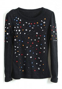 Black Studded Round Neck Cotton Blend T-Shirt