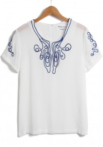 White Plain Embroidery Collarless Flax Blend T-shirt