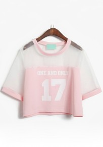 Pink Patchwork Figure Grenadine T-Shirt