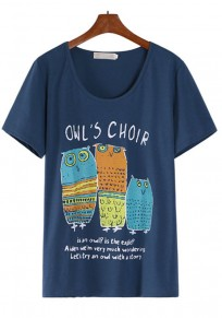 Blue Owl Print Short Sleeve T-Shirt