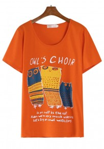 Orange Owl Print Short Sleeve T-Shirt