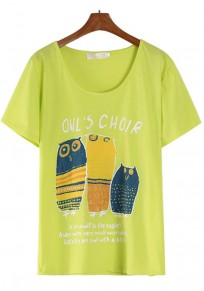 Yellow Owl Print Short Sleeve T-Shirt