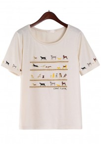 Apricot Dog Print Short Sleeve T-Shirt