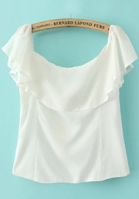 White Plain Falbala Short Sleeve T-Shirt