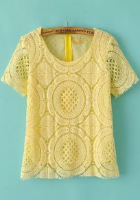 Yellow Plain Hollow-out Lace T-Shirt