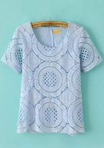 Blue Plain Hollow-out Lace T-Shirt